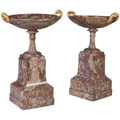 Pair of Italian Grand Tour Neoclassical Marble Tazza on Stands
