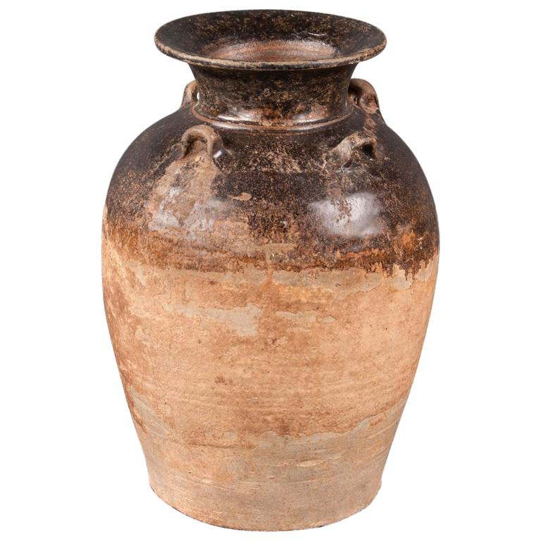 Pottery Vase, Northern Thailand, 14th-16th Century For Sale