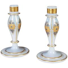 Pair of Opaline Charles X Candlesticks