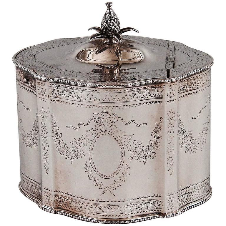 George III Sterling Silver Tea Caddy London 1783-1784 by Thomas Daniell