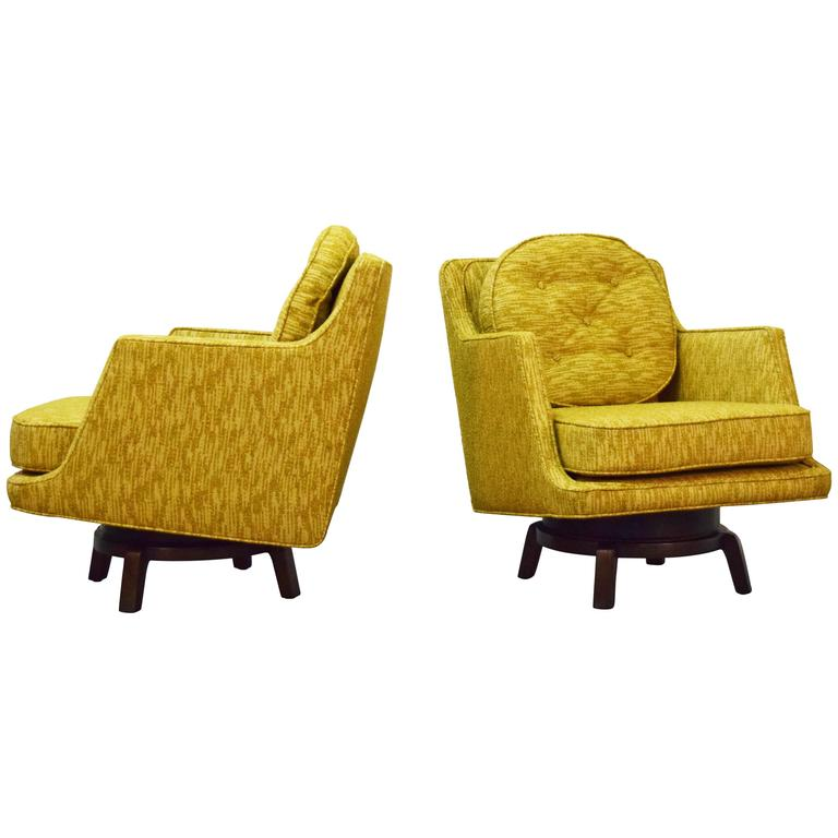 Pair of Edward Wormley Swivel Lounge Chairs for Dunbar For Sale