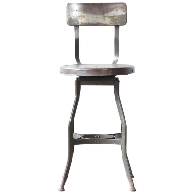 Industrial Metal Stool By Toledo At 1stdibs
