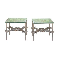 Pair of Mid Century Iron Side Tables, Glass Tops