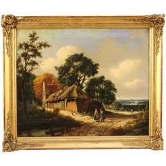 """18th Century Painting Oil on Canvas """"Landscape with Figures"""""""