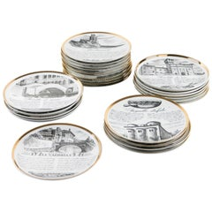 Unique Set of 24 Dinner Plates by Piero Fornasetti