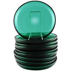 Nine Dishes in Green Art Glass, Josef Frank by Reijmyre/Gullaskruf, Sweden