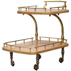 Aldo Tura Bar Cart Cream Goatskin