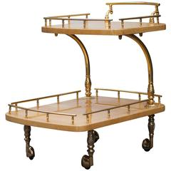 Aldo Tura Bar Cart Cream Goatskin