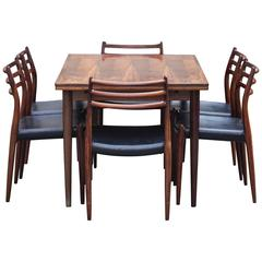 Niels Otto Møller Danish Rosewood Dining Room Set with Six Chairs
