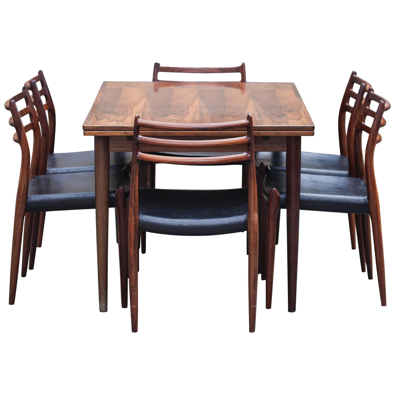 danish rosewood dining room set with six chairs for sale at 1stdibs
