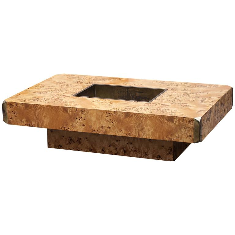 Willy Rizzo Coffee Table Alveo Burl Wood 1973 At 1stdibs