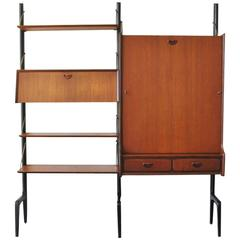 Wall Unit in Teak with Foldable Table by Louis Van Teeffelen for Wébé, 1950s