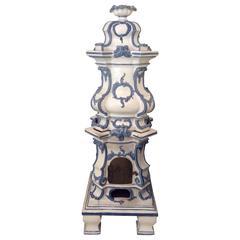 19th Century German Rococo Style Majolica Stove Kachelofen