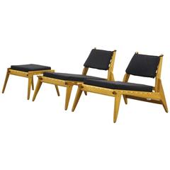 Pair of Beautiful Lounge Hunting Chairs with Ottoman Mid-Century German Design