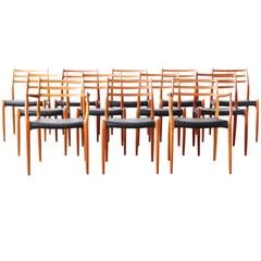 Beautiful Set of 12 Danish Dining Chairs by Niels Moller Møller Mod. 78 & 62