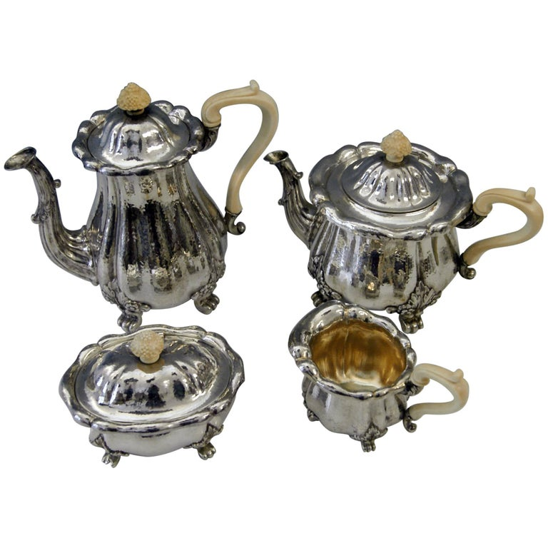 Silver Hanau Coffee Tea Set Baroque Style Made by Schleissner Germany Circa 1890 For Sale