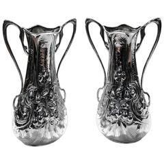 Pair of Antique English Sterling Silver Art Nouveau Vases