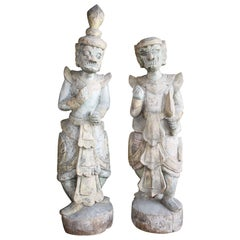 18th Century Pair of Carved Wood Statues, Bali