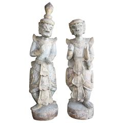 Pair of Balinese Carved Statues
