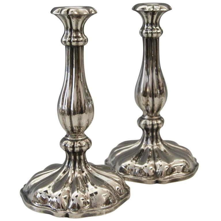 Silver 13 Lot Austrian Pair of Candlesticks Vienna by Master J.Wiederspoeck 1855 For Sale