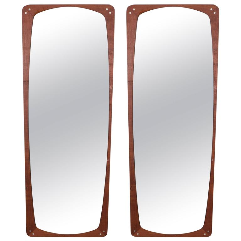 Pair of Danish Rosewood Wall Mirrors 1