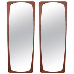 Pair of Danish Rosewood Wall Mirrors