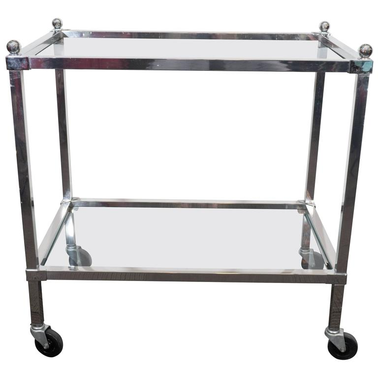 chrome bar cart with glass shelves for sale at 1stdibs. Black Bedroom Furniture Sets. Home Design Ideas