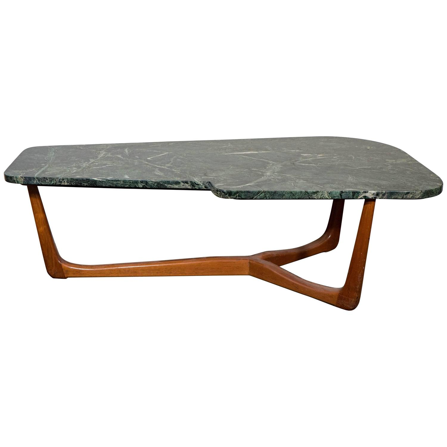 Vladimir Kagan Style Asymmetric Coffee Table With Green Marble Top For Sale At 1stdibs