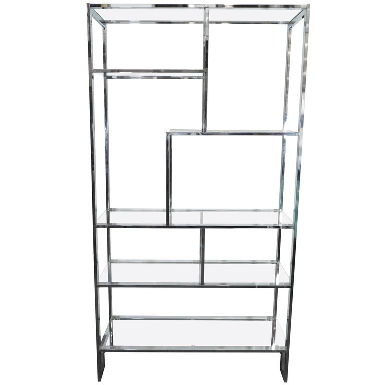 Milo Baughman Etagere in Chrome and Glass Shelves with Greek Key ...