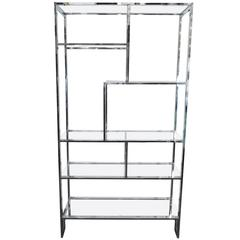 Milo Baughman Etagere in Chrome and Glass Shelves with Greek Key Base