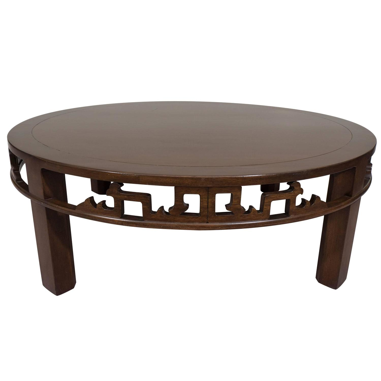 Vintage Baker Coffee Tables: Baker Furniture Asian Inspired Round Coffee Table For Sale