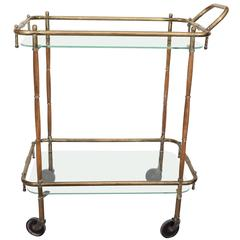 Italian 1960s Bar Cart in Brass and Wood