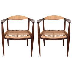 Pair of Danish Hans J. Wegner Elbow Chairs for Johannes Hansen