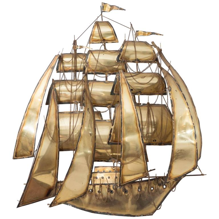 Brutalist Style Sailing Ship Wall Sculpture in the Manner of Curtis Jere