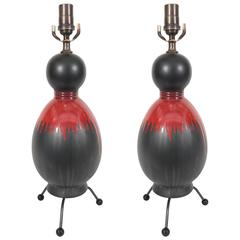Pair of Midcentury Black Glazed Gourd Lamps with Red Drip Glaze
