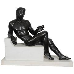 Italian Neoclassical Style Male Nude Sculpture in Patinated Bronze
