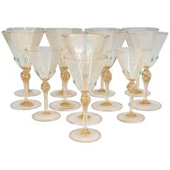 Salviati Blown Glass Gold Leaf Stemware, Set of 12