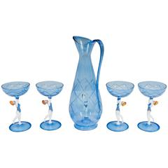 Bimini Style Art Glass Decanter and Set of Four Cordial Glasses