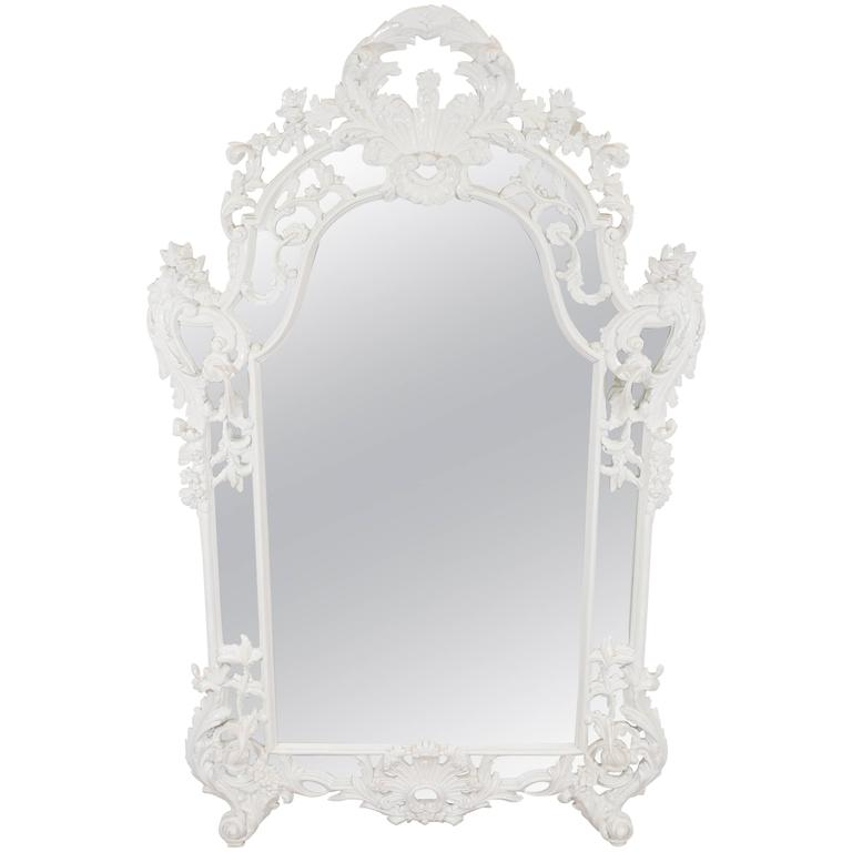 Spanish rococo style wall mirror in white at 1stdibs for White baroque style mirror
