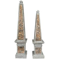 Pair of Maitland-Smith Obelisks in Tessellated Marble