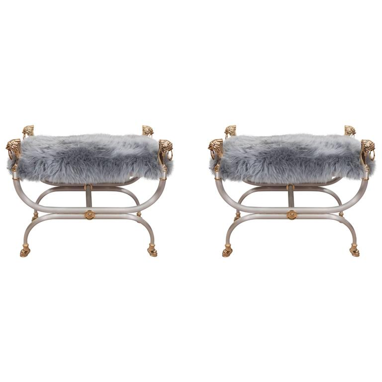 Pair Of Mid Century Maison Charles Benches In Sheepskin With Lions 39 Heads At 1stdibs