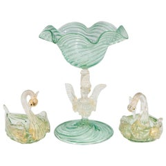Salviati Glass Raised Bowl and Salts with Swan Motif