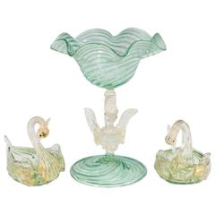 Salviati Glass Raised Bowl and Salts with Swan Motif