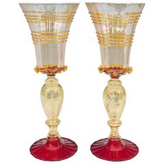 Pair of Venetian Style Red and Gold Blown Glass Goblets