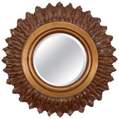 Sunburst Mirror in Carved and Giltwood Frame