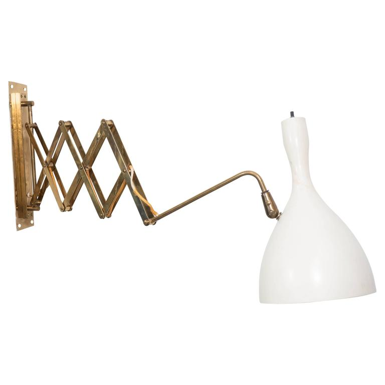 Wall Mounted Scissor Lamp : Scissor Wall-Mounted Lamp with White Tulip Shade at 1stdibs