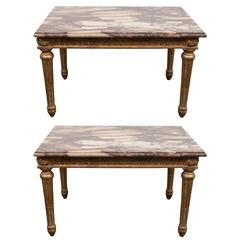 Pair of Louis XVI Style Giltwood Tables with Breche d'Alep Marble Tops