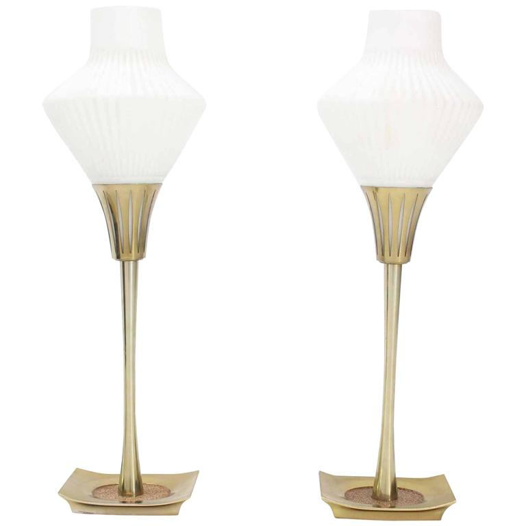 Pair Of Mid Century Modern Table Lamps Cone Frosted Glass Shades For