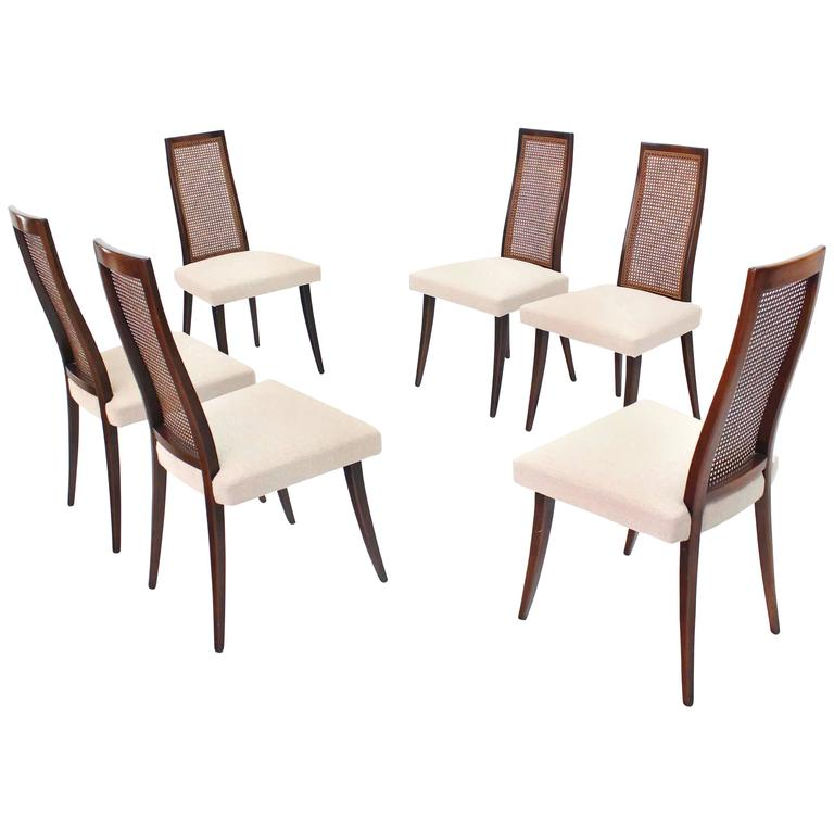 Set of Six Harvey Probber Dining Chairs with New Linen Upholstery