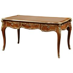 19th Century French Louis XV Walnut Desk with Bronze Mounts and Leather Top